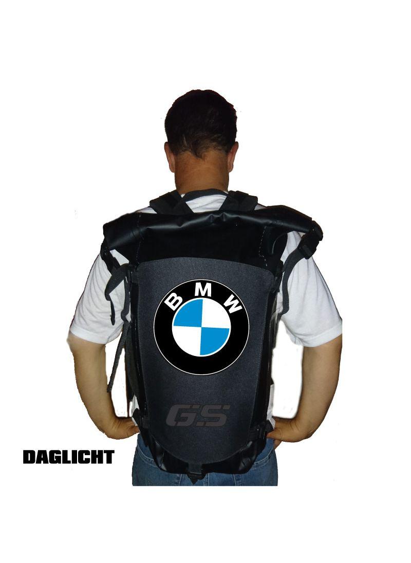 100% waterdichte rugzak met BMW (deels)reflecterende print (overdag)