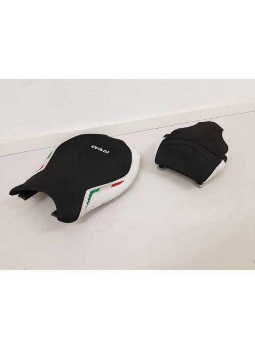 Zadelset Ducati 848 848EVO Suede Wit Tricolore