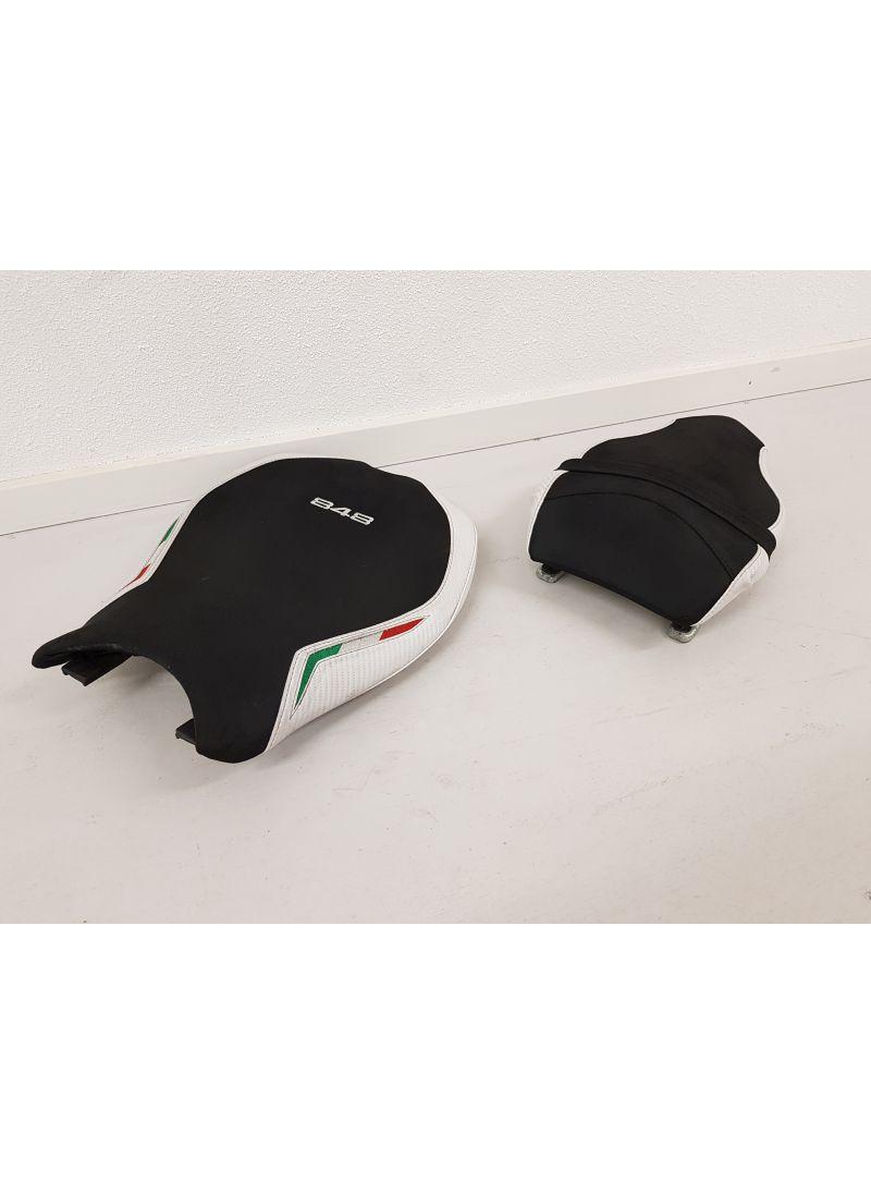Seat set Ducati 848 848EVO Suede White Tricolore