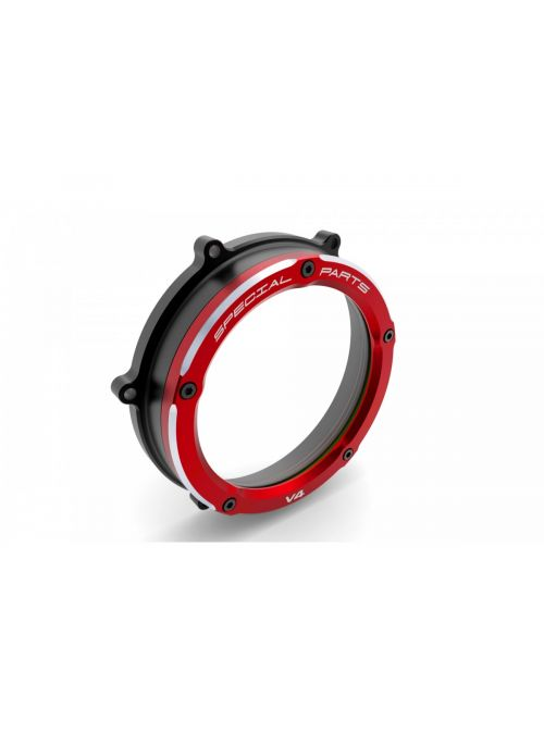 Clutch Cover transparant Black-Red Panigale V4 V4S V4R Ducabike