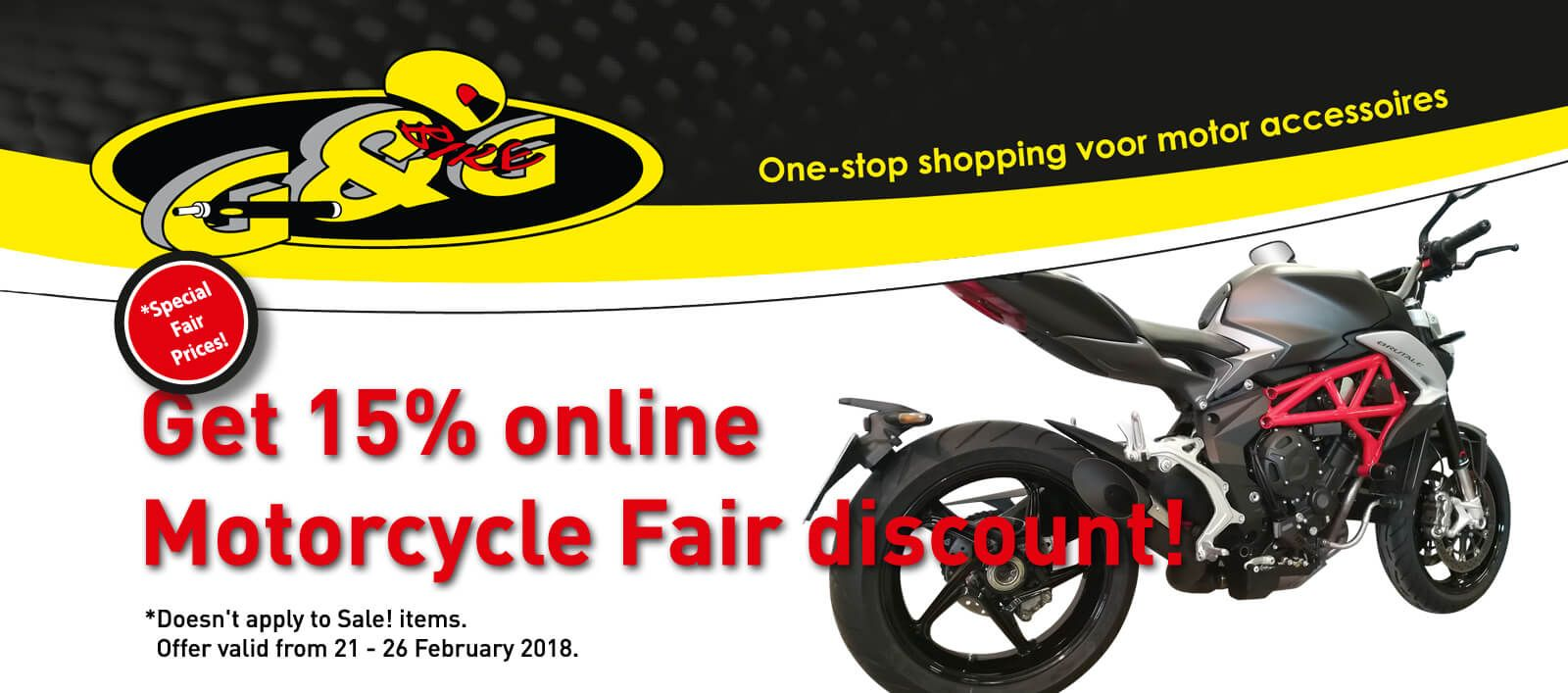 15% discount on all G&G exhausts during Motorbeurs Utrecht motorcycle fair