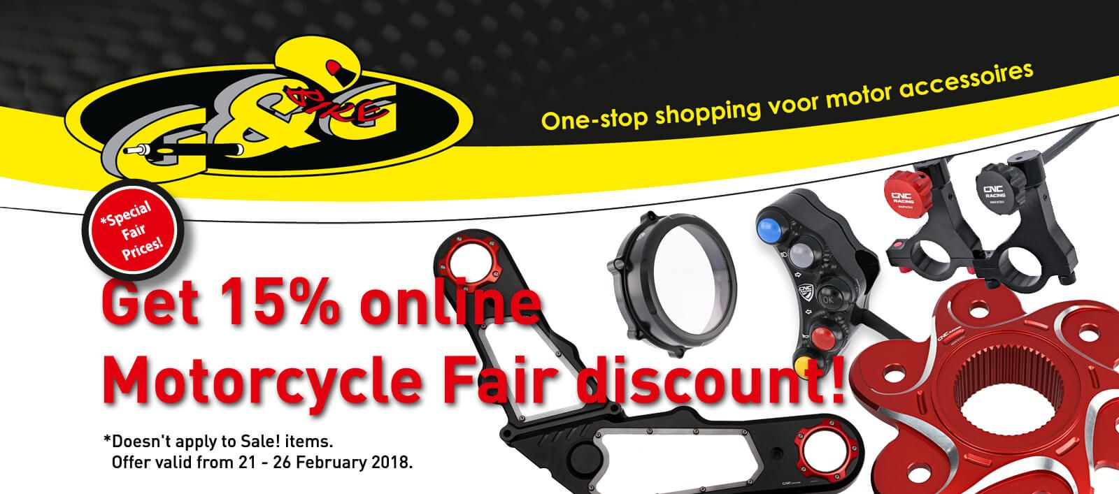 15% discount on all CNC Racing during Motorbeurs Utrecht motorcycle fair