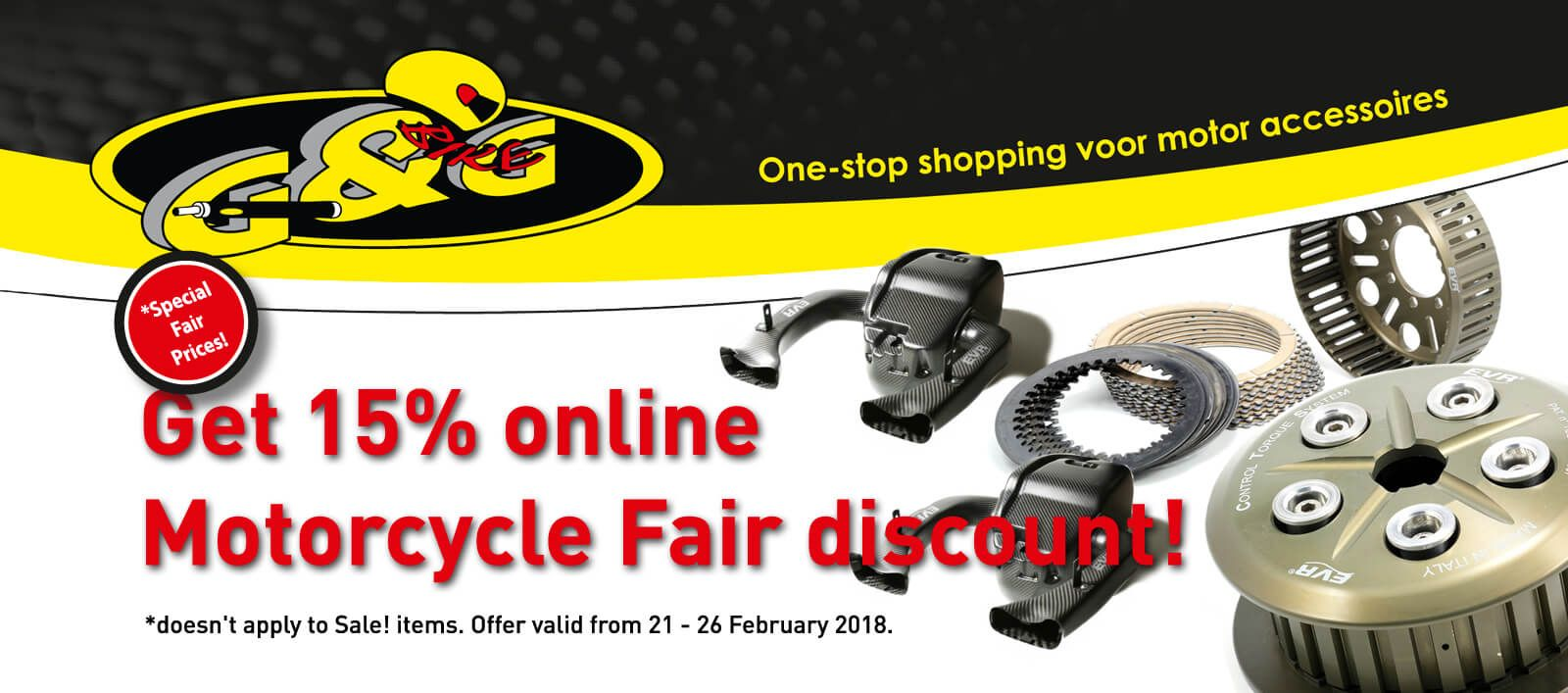 15% discount on all EVR Edo Vigna Racing during Motorbeurs Utrecht motorcycle fair