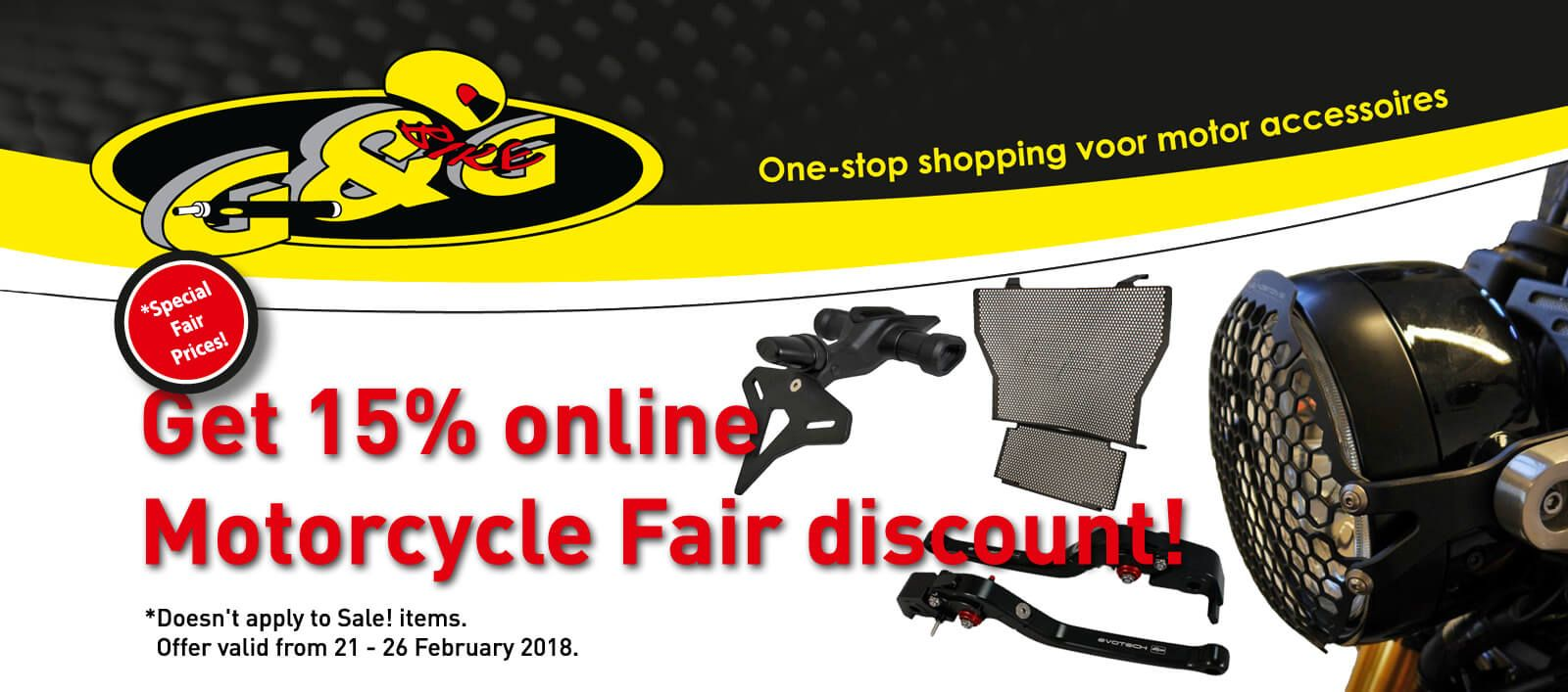 15% discount on all Evotech Performance during Motorbeurs Utrecht motorcycle fair